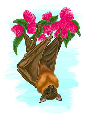 Digital Art - Flying Fox Bat Painting, All Of The Profit Proceeds Going To Wires Wildlife Rescue In Australia by Dara Thomson