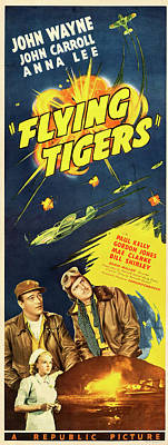Monochrome Landscapes - Flying Tigers poster 1942 by Stars on Art