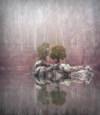 Farmhouse Rights Managed Images - Foggy Morning On Canal Royalty-Free Image by Francis Sullivan