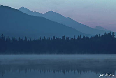 Photograph - Foggy Mountains and Reflections in a Lake by Jeff Goulden