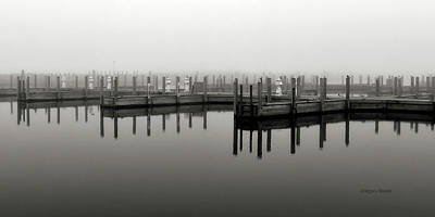 Photograph - Foggy Scales and tails boat slip by Gregory Steele