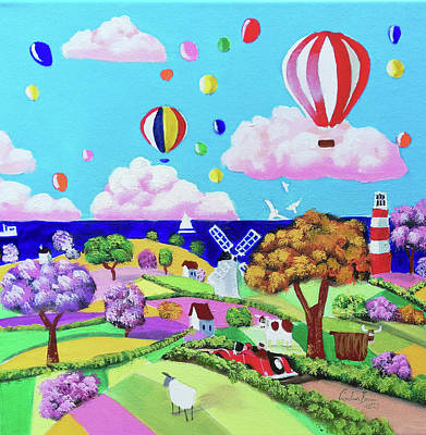 Painting - Folk art painting - happy seaside by Gordon Bruce
