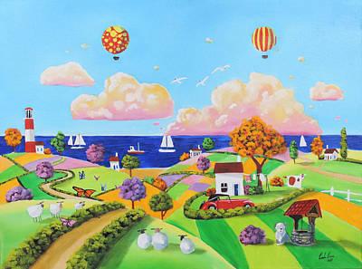 Painting - Folk Art Painting, Patchwork Fields by Gordon Bruce