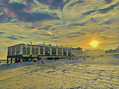 Surrealism Royalty-Free and Rights-Managed Images - Football on the beach at Sunset by Surreal Jersey Shore