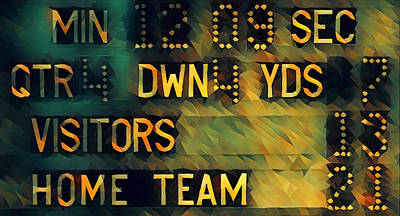 Mixed Media - Football Scoreboard by Pierce Anderson