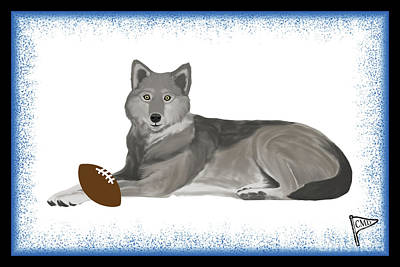 Animals Digital Art - Football Wolf Blue by College Mascot Designs