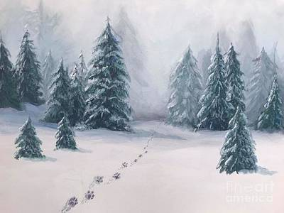 Painting - Footprints in the Snow by Pam Fries