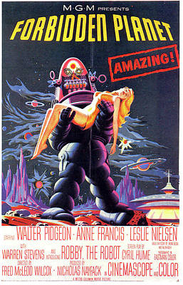 Mixed Media Royalty Free Images - Forbidden Planet movie poster from 1956 Royalty-Free Image by Stars on Art