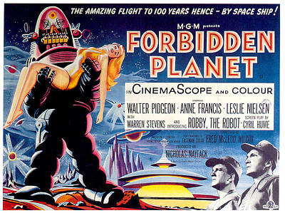 Science Fiction Royalty-Free and Rights-Managed Images - Forbidden Planet poster 1956 by Stars on Art