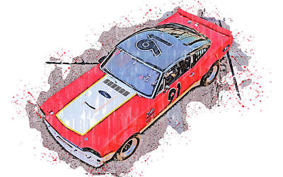 Sports Paintings - Ford Mustang 1966 - 02 by AM FineArtPrints