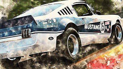 A White Christmas Cityscape - Ford Mustang 1966 - 22 by AM FineArtPrints