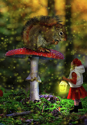 Surrealism Royalty-Free and Rights-Managed Images - Forest Encounter by Barroa Artworks