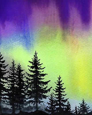 Royalty-Free and Rights-Managed Images - Forest Northern Lights Aurora Borealis Watercolor  by Irina Sztukowski