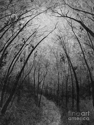 Thomas Kinkade - Forest Path in Black and White by Hailey E Herrera