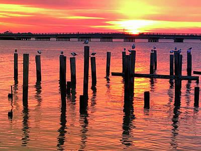 Lucille Ball - Fort Monroe Bridge Sunrise by Lori A Cash