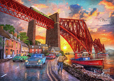 Digital Art - Forth Bridge Sunset by MGL Meiklejohn Graphics Licensing