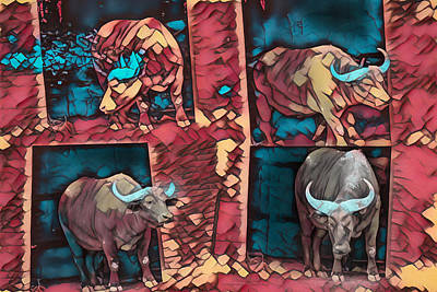 Digital Art - Four Cape Buffalo At The Zoo by Mike Braun