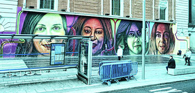Abstract Royalty-Free and Rights-Managed Images - Four Women Mural - Madrid by Allen Beatty