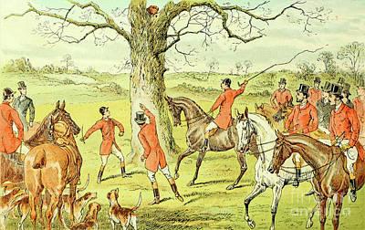 Animals Drawings - Fox Hunting illustration i10 by Historic illustrations