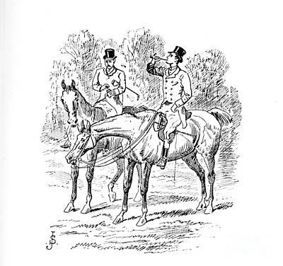 Animals Drawings - Fox Hunting illustration i11 by Historic illustrations