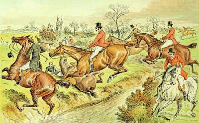 Animals Drawings - Fox Hunting illustration i12 by Historic illustrations