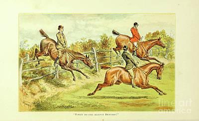 Animals Drawings - Fox Hunting illustration i2 by Historic illustrations