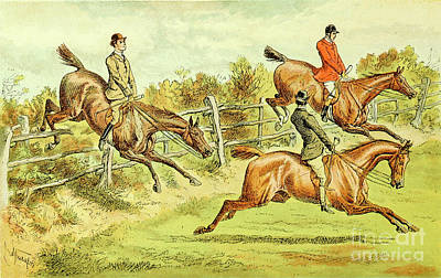 Animals Drawings - Fox Hunting illustration i3 by Historic illustrations