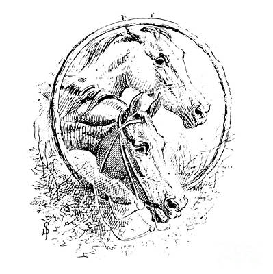 Animals Drawings - Fox Hunting illustration i7 by Historic illustrations