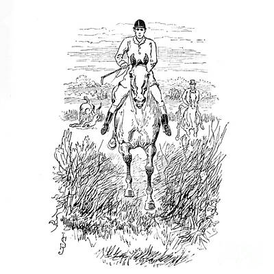 Animals Drawings - Fox Hunting illustration i9 by Historic illustrations