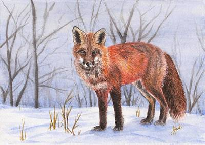 Painting - Fox in the snow by Swati Singh