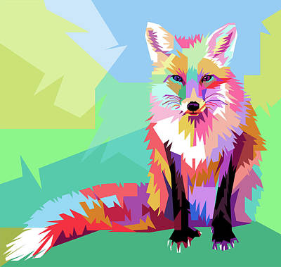Royalty-Free and Rights-Managed Images - Fox WPAP Pop Art by Ahmad Nusyirwan