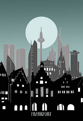 Irish Leprechauns - Frankfurt Skyline Minimal by Bekim M