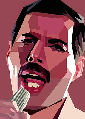 Royalty-Free and Rights-Managed Images - Freddie Mercury WPAP Skintone by Ahmad Nusyirwan