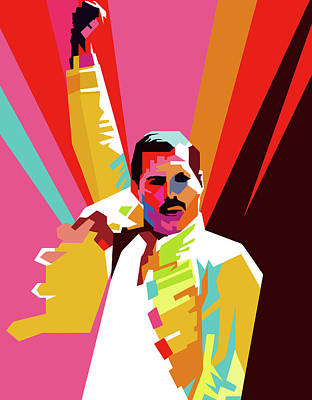 Royalty-Free and Rights-Managed Images - Freddie Mercury Wpap Pop Art by Ahmad Nusyirwan