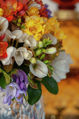 Science Collection - Freesia and Orchids Mixed Bouquet in Vase 1 by Jenny Rainbow