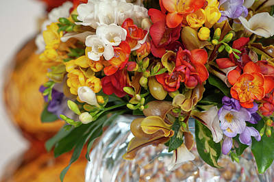 Science Collection - Freesia and Orchids Mixed Bouquet in Vase 3 by Jenny Rainbow