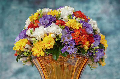 Science Collection - Freesia and Orchids Mixed Bouquet in Vase by Jenny Rainbow