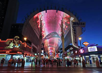 Rose - Fremont Street Experience Night Scene, Las Vegas, NV, USA by Derrick Neill