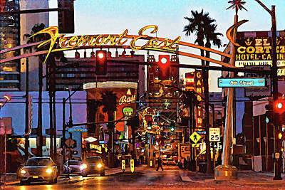 From The Kitchen - Fremont Street Las Vegas - Painting by Tatiana Travelways