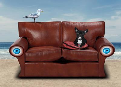 Surrealism Digital Art - French Bulldog Sitting in Sofa By the Beach Surreal by Barroa Artworks