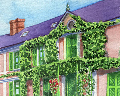 Royalty-Free and Rights-Managed Images - French Mansion With Wall Vines Watercolor  by Irina Sztukowski