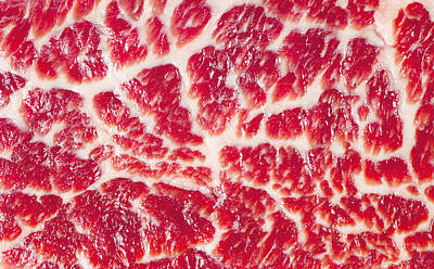Royalty-Free and Rights-Managed Images - Fresh Raw Beef Steak Marbled Meat Texture Close Up Background by Julien