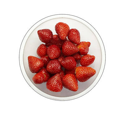 Photograph - Fresh Red Strawberries overhead view of fruit bowl by Tom Conway