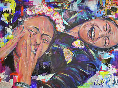 Painting - Frida Kahlo and Chavela Vargas by Christina Carmel
