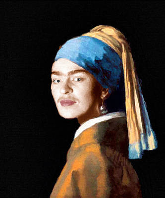 Surrealism Royalty-Free and Rights-Managed Images - Frida Kahlo Johannes Vermeer Girl With A Pearl Earring by Tony Rubino