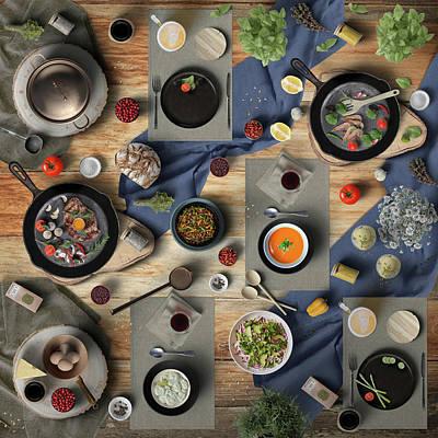 American Milestones - Friday Night Steak Shrimp Soup Beer And IceCream by Johanna Hurmerinta