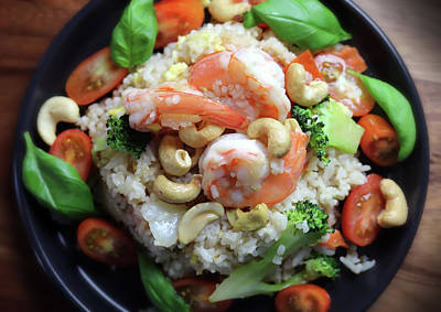 Keith Richards - Fried Rice With Shrimp Cashew Eggs Broccolini And Tomatoes by Johanna Hurmerinta
