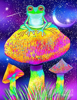 Fun Patterns - Frog and Colorful Mushrooms by Nick Gustafson