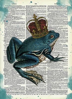 Surrealism Royalty-Free and Rights-Managed Images - Frog prince dictionary art by Mihaela Pater