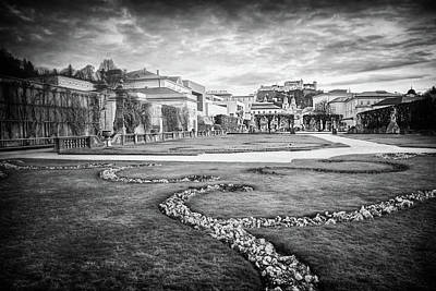 Comedian Drawings - From Mirabell Gardens to Salzburg Castle Black and White  by Carol Japp